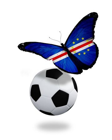 ball like: Concept - butterfly with Cape Verde flag flying near the ball, like football team playing