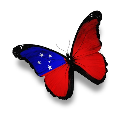 samoa: Samoa flag butterfly, isolated on white Stock Photo