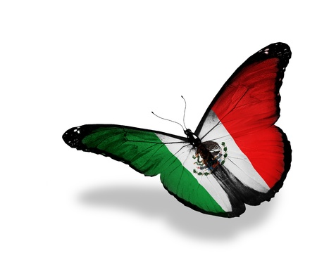 United Mexican States flag butterfly flying, isolated on white background