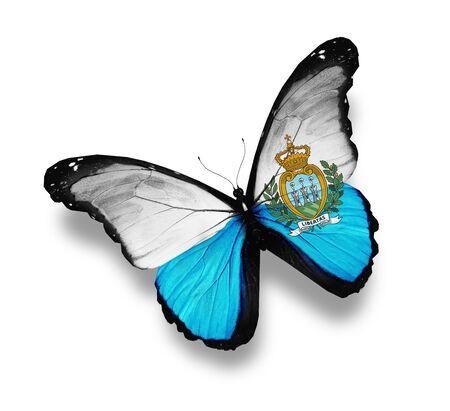 sammarinese: San Marino bandiera farfalla, isolato su bianco