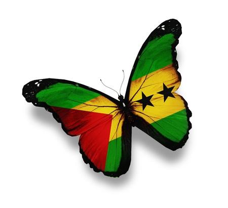tomo: Sao Tome e Principe farfalla bandiera, isolato su bianco