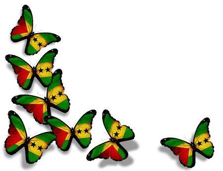 tomo: Sao Tome e Principe farfalle bandiera, isolato su sfondo bianco