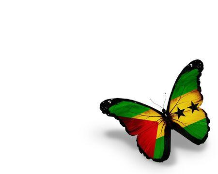 principe: Sao Tome and Principe mariposa bandera, aislado en fondo blanco Foto de archivo