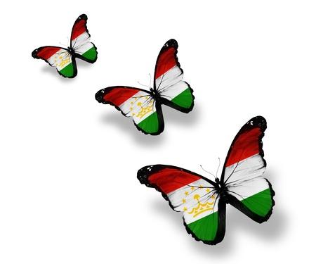 spring  tajikistan: Tre farfalle bandiera tagiki, isolato su bianco