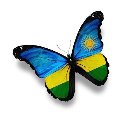 rwanda: Rwanda flag butterfly, isolated on white