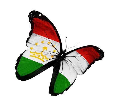 spring  tajikistan: Tagiko bandiera farfalla volare, isolato su sfondo bianco Archivio Fotografico