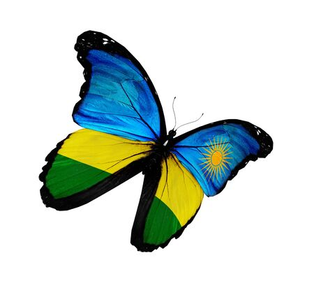 Rwanda flag butterfly flying, isolated on white background photo