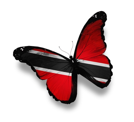 national flag trinidad and tobago: Trinidad and Tobago flag butterfly, isolated on white