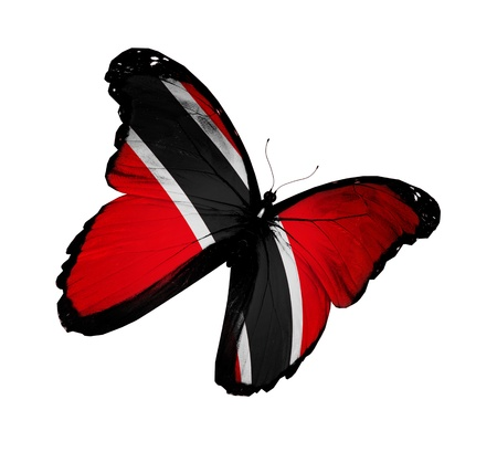 national flag trinidad and tobago: Trinidad and Tobago flag butterfly flying, isolated on white background