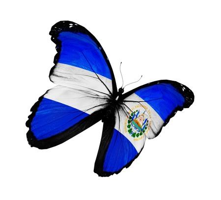 bandera de el salvador: Salvador bandera mariposa volando, aislado sobre fondo blanco