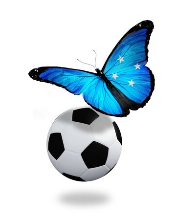 ball like: Concept - butterfly with Micronesia flag flying near the ball, like football team playing