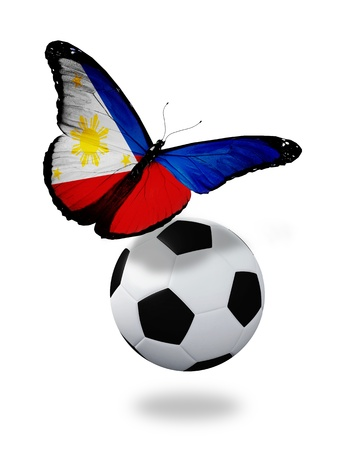 ball like: Concept - butterfly with Philippine flag flying near the ball, like football team playing