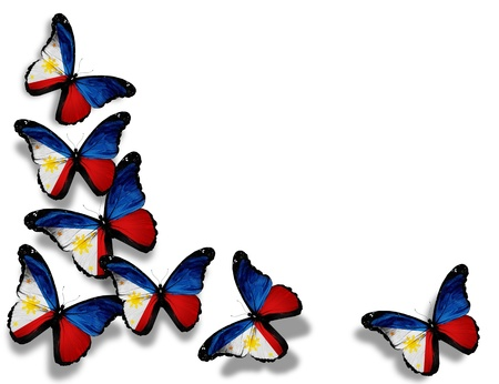 philippine: Philippine flag butterflies, isolated on white background