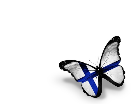finland flag: Finnish flag butterfly, isolated on white background