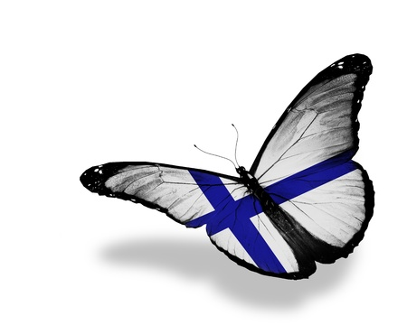 Finnish flag butterfly flying, isolated on white background Imagens