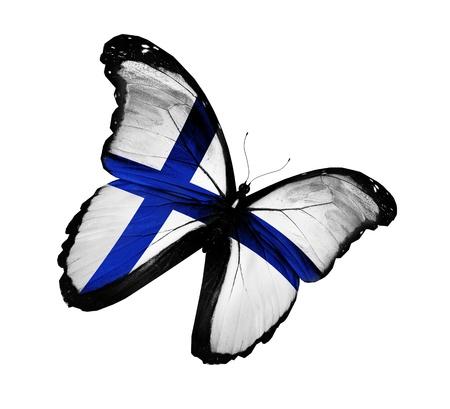 finland�s: Bandera finlandesa mariposa volando, aislado sobre fondo blanco Foto de archivo