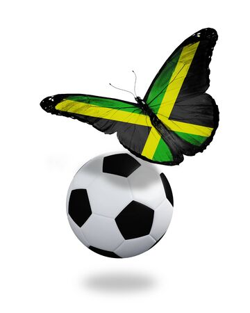 ball like: Concept - butterfly with Jamaican flag flying near the ball, like football team playing   Stock Photo