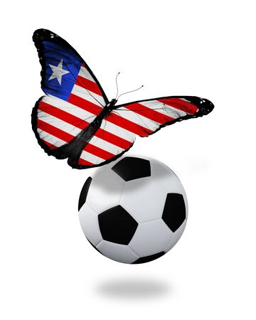 ball like: Concept - butterfly with Liberia flag flying near the ball, like football team playing