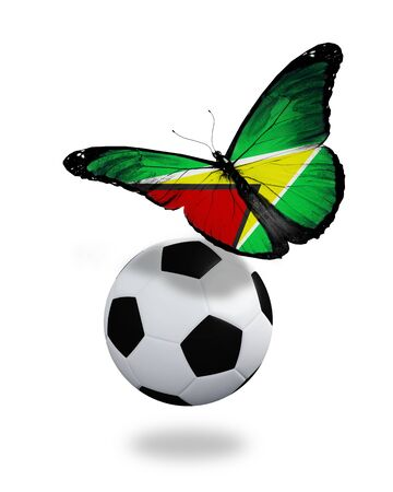ball like: Concept - butterfly with Guyana flag flying near the ball, like football team playing   Stock Photo