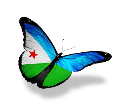 Djibouti flag butterfly flying, isolated on white background photo