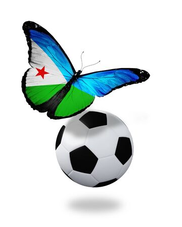 ball like: Concept - butterfly with Djibouti flag flying near the ball, like football team playing   Stock Photo