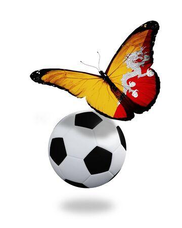 ball like: Concept - butterfly with Bhutan flag flying near the ball, like football team playing