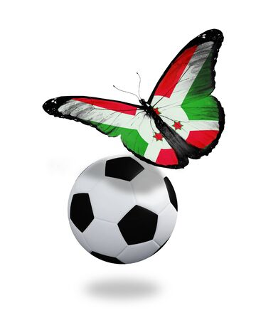 ball like: Concept - butterfly with Burundi flag flying near the ball, like football team playing