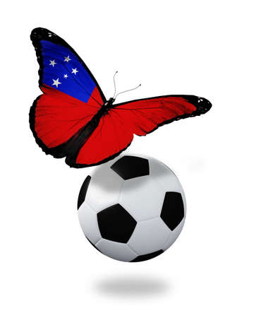 ball like: Concept - butterfly with Samoa flag flying near the ball, like football team playing