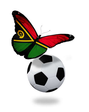 ball like: Concept - butterfly with Vanuatu flag flying near the ball, like football team playing   Stock Photo