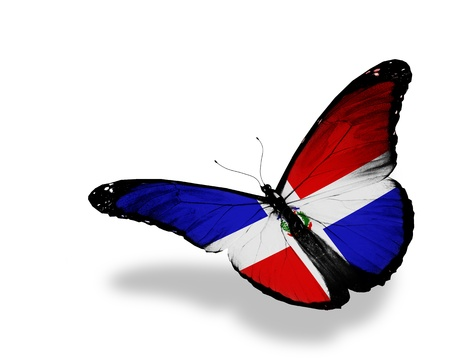 Dominican Republic flag butterfly flying, isolated on white background photo