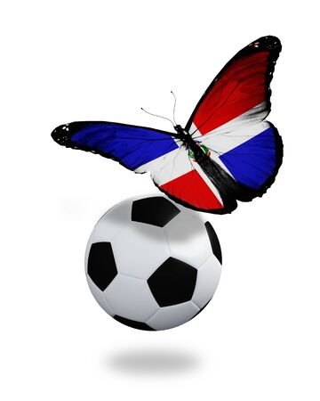 ball like: Concept - butterfly with Dominican Republic flag flying near the ball, like football team playing
