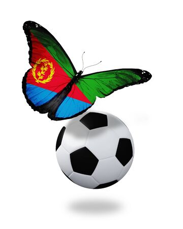 ball like: Concept - butterfly with Eritrea flag flying near the ball, like football team playing   Stock Photo