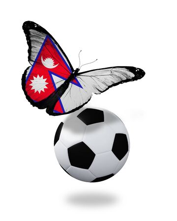 penalty flag: Concept - butterfly with Nepal flag flying near the ball, like football team playing