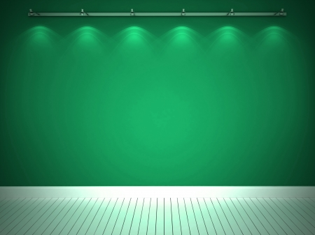 Illuminated green wall and white floor photo