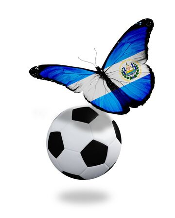 ball like: Concept - butterfly with Salvador flag flying near the ball, like football team playing