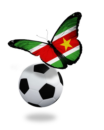 penalty flag: Concept - butterfly with Suriname flag flying near the ball, like football team playing   Stock Photo