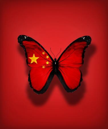 플래그 배경에 고립 된 중국의 국기 나비,
