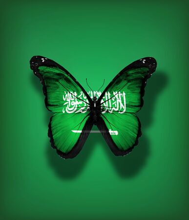 Saudi Arabia flag butterfly, isolated on flag background photo