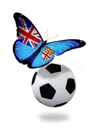 ball like: Concept - butterfly with Fiji flag flying near the ball, like football team playing   Stock Photo