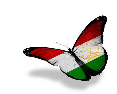 spring  tajikistan: Tagikistan bandiera farfalla volare, isolato su sfondo bianco