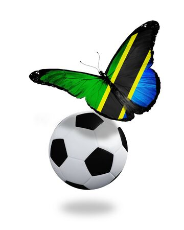 ball like: Concept - butterfly with Tanzania flag flying near the ball, like football team playing   Stock Photo