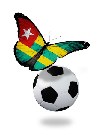 Concept - butterfly with Togo flag flying near the ball, like football team playing   photo