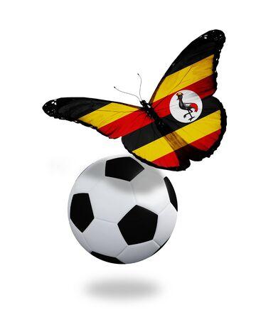 ball like: Concept - butterfly with Uganda flag flying near the ball, like football team playing