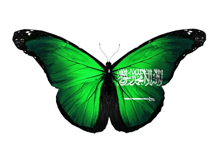 Saudi Arabia flag butterfly flying, isolated on white background