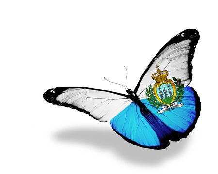 San Marino flag butterfly flying, isolated on white background