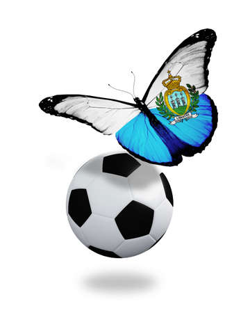 ball like: Concept - butterfly with San Marino flag flying near the ball, like football team playing   Stock Photo