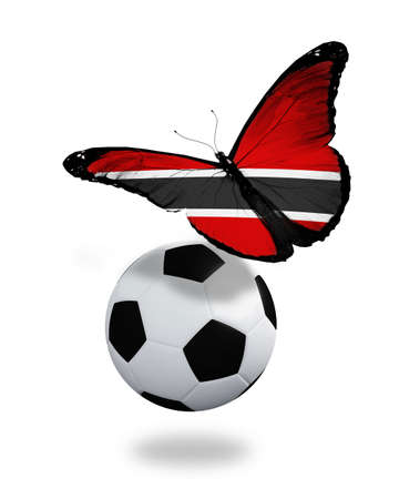 ball like: Concept - butterfly with Trinidad and Tobago flag flying near the ball, like football team playing   Stock Photo