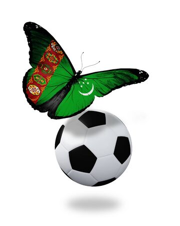 ball like: Concept - butterfly with Turkmenistan flag flying near the ball, like football team playing