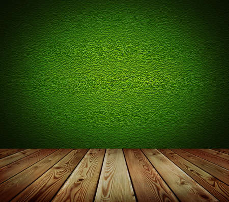 absract art: Green wall and wood floor background   Stock Photo