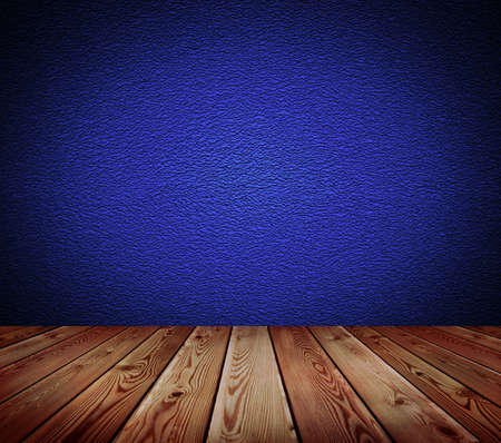 Blue wall and wood floor background   photo
